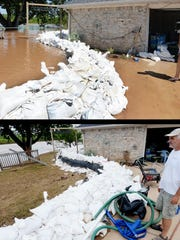 Bill Carrier stands in the same spot (bottom photo) where he stood one week before when a sandbag wall was the only thing saving his house from floodwater in North Bossier.