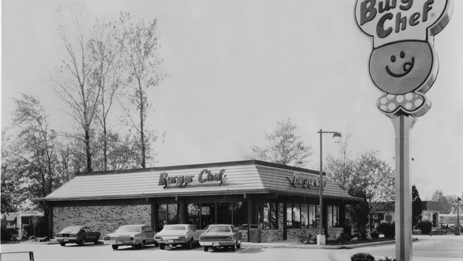 This 1974 photo shows the exterior of one of the Burger Chef fast food hamburger restaurant.