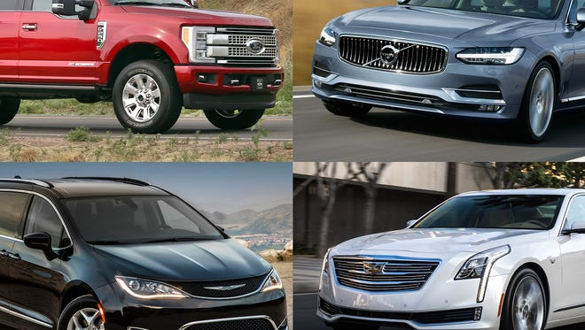 Clockwise from upper left: 2017 Ford F-250 Super Duty 4x4 Crew Cab Platinum, 2017 Volvo S90, 2017 Cadillac CT6 and 2017 Chrysler Pacifica