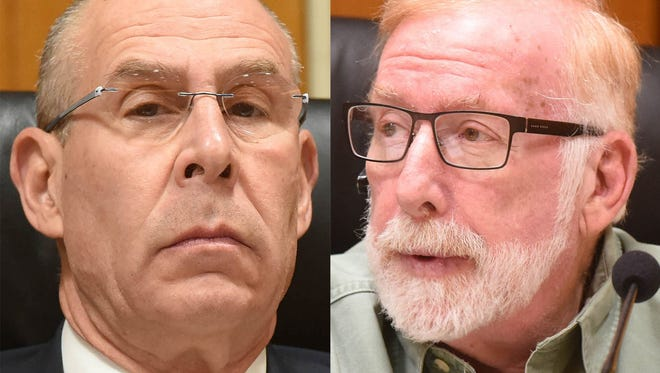 City Councilmen Marc Forman, left, and Eugene Skurnick