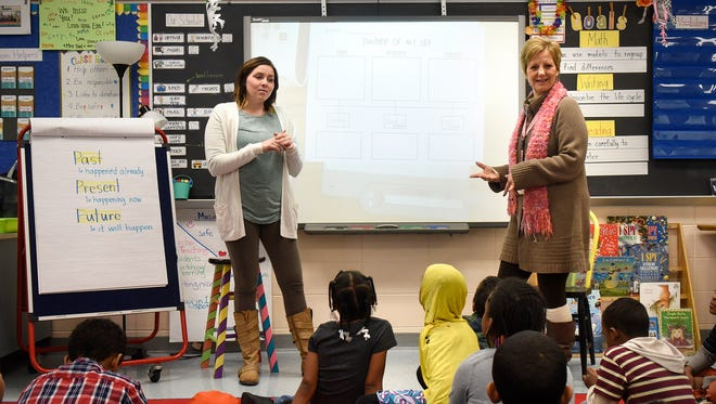 Teachers Emma Wabbe, left, and Jill Haehn demonstrate a co-teaching approach in a second-grade classroom Thursday, Jan. 26, at Talahi Community School in St. Cloud.