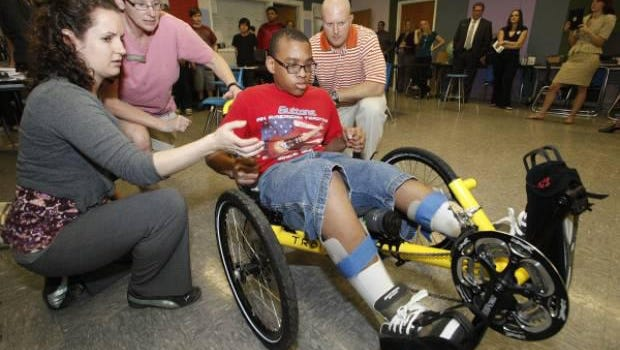 A local special needs child received sports equipment thanks to Salinas Circle for Children.