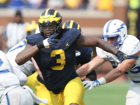 Rashan Gary plays against Air Force last season.