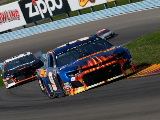 Monster Energy NASCAR Cup Series driver Chase Elliott (9) on his way to a win in the 2018 Go Bowling at The Glen at Watkins Glen International.