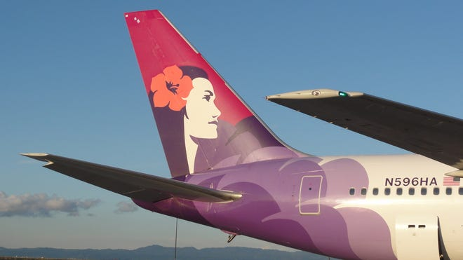 A Hawaiian Airlines Boeing 767-300 at Oakland International Airport on April 8, 2011.