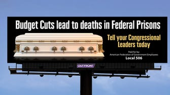 Rendering of a proposed billboard by prison union officials in an effort to call attention to dramatic cuts, warning that staffers could die if authorities proceed with a plan to eliminate more than 6,000 positions. [Via MerlinFTP Drop]