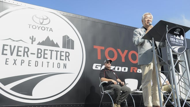 Mitsuhisa Kato talks about the jouney to Toyota Bodine Aluminum Wednesday morning during the 'Ever Better Expedition.' The expedition, which began in 2014, is a continuous test drive across five continents to test every Toyota model across various environments and weather conditions.