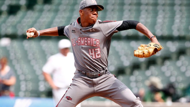 Jul 23, 2016; Chicago, IL, U.S.A: American Team starting pitcher Hunter Greene (42) delivers a pitch during the first inning against the National Team at the Under Armour All America Baseball game at Wrigley Field. -- Photo by Caylor Arnold, USA TODAY Sports Images, Gannett ORG XMIT:  US 135238 Under Armour 7/23/2016 [Via MerlinFTP Drop]