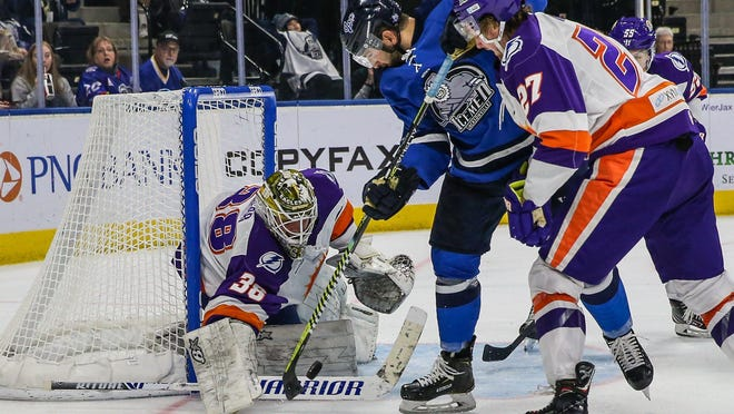 Orlando Solar Bears goaltender Clint Windsor (38) blocks an Icemen shot in the 2019-20 season. The Sunshine State opponents face off again Tuesday night in Orlando.