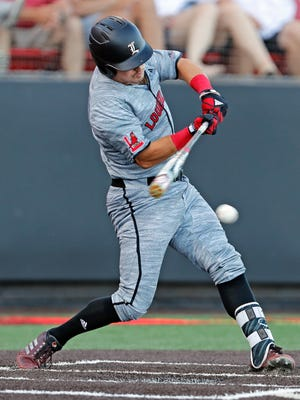 Louisville's Danny Oriente (9) hits the ball during an NCAA college baseball tournament regional game against Texas Tech, Saturday, June 2, 2018, in Lubbock, Texas. (Brad Tollefson/Lubbock Avalanche-Journal via AP)