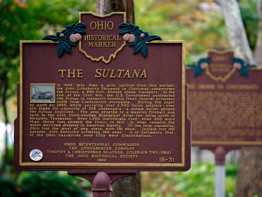 The historical marker for the SS Sultana is along the