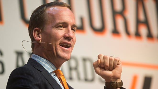 Former Denver Broncos quarterback Peyton Manning speaks during the Northern Colorado Sports Awards at the Budweiser Events Center in Loveland Tuesday, May 17, 2016.