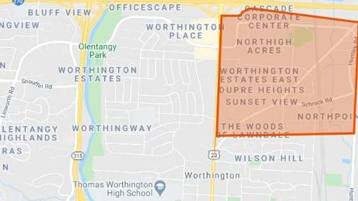 A map of the area in northeast Worthington where mosquito spraying will occur from 3:30 a.m. to 6:30 a.m. Friday.