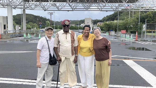 Luther and Connie Manus, center, of Erie County, are shown with Hiroshi and Junko Haji, of Japan, during the Manuses' visit in 2019 to places where Luther Manus stayed during his U.S. Army deployment in Japan.The Manuses recently celebrated their 20th anniversary. The Hajis are the parents of a friend of the daughter of Connie Manus.