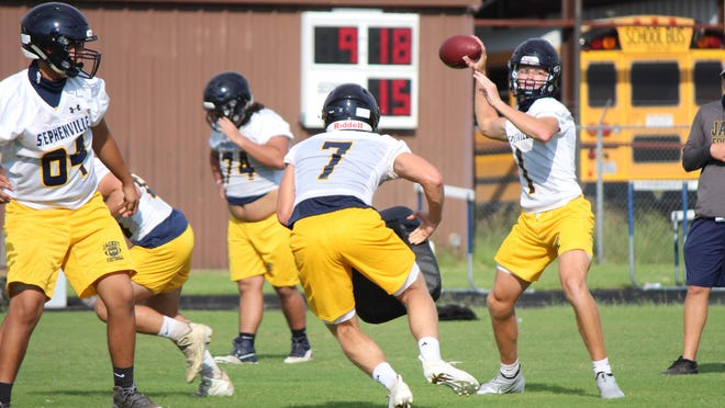 Stephenville High School football players work out earlier this week as they began preparations for the 2020 season.