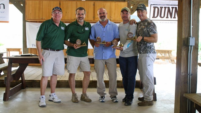 Greg Wheeler with 1st Place Team: Richard Rhatigan, George McLain, Dr. Don Wood, and Dr. Steven Parr.