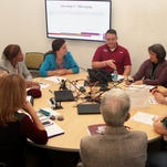 Members of the New Mexico State University Foundation Board of Directors, Alumni Association International Board of Directors and President's Associates Board of Directors discuss ways to support student success in the first of what will become an annual joint meeting of the three groups.