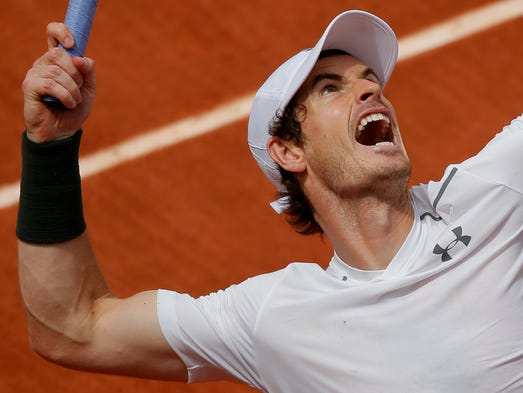 Britain's Andy Murray serves the ball to  Croatia's