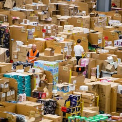 The Amazon Fulfillment Center prepares for the holiday rush in Hemel Hempstead, England.