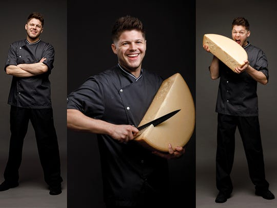 """Chef Josh Zeman, from Sea Salt, 1136 Third St. South in Naples, balances a large wheel of Parmigiano-Reggiano. Josh's forte is plating food in what he describes as """"Jackson Pollock-ish style."""""""
