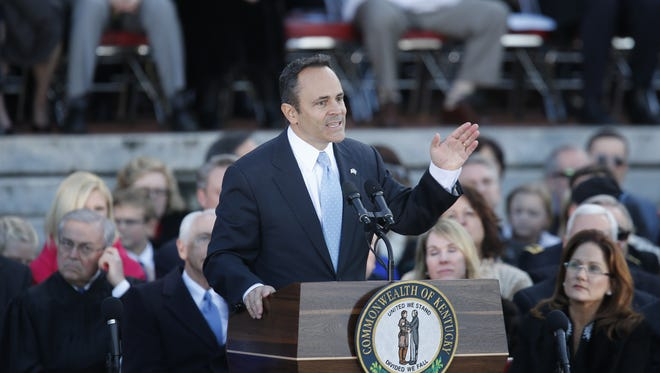 Governor Matt Bevin spoke prior to his swearing in on the steps of the Capitol in Frankfort. Dec. 8, 2015.