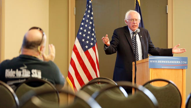 Democratic presidential candidate Sen. Bernie Sanders, I-Vt, speaks during a campaign stop at the William B. Cashin Senior Activity Center, Friday, Oct. 30, 2015, in Manchester, N.H. (AP Photo/Jim Cole)