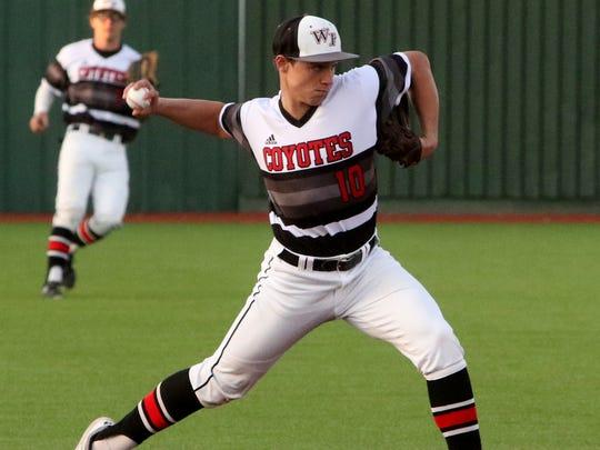 Wichita Falls High School's Zane Leonard throws to