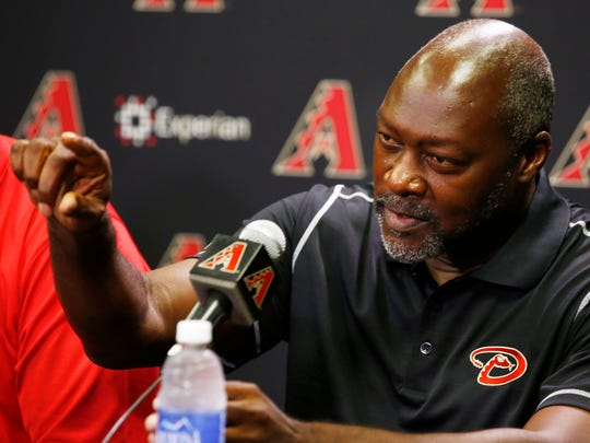 The Arizona Diamondbacks introduce their new general manager Dave Stewart during a news conference on Sept. 26, 2014 at Chase Field in Phoenix.