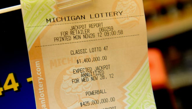 A printout of a jackpot report for the Michigan Lottery shows the Nov. 28, 2012, jackpot for Powerball.