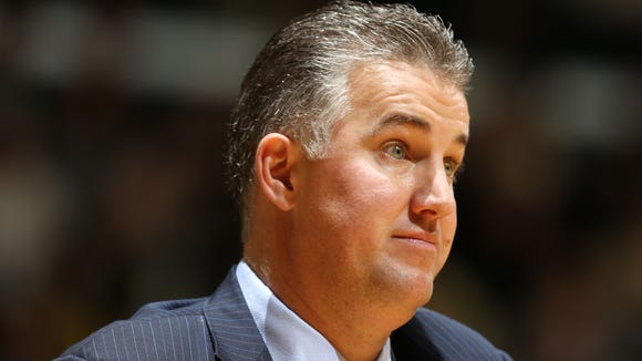 Purdue coach Matt Painter on the sidelines during Saturday's 67-64 victory over Iowa at Mackey Arena.