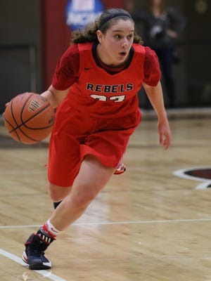 Michelle Sidor of Saddle River Day dribbles the ball in the offensive zone.