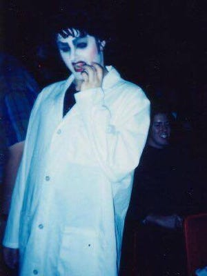 """Terre Steed as Dr. Frank-N-Furter in a """"Rocky Horror Picture Show"""" shadow cast from the early 1990s."""