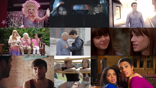 Collection of screenshots from the movies being shown at OutWest Film Festival.