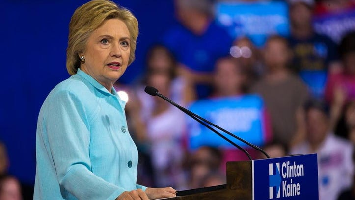 Presumptive Democratic presidential nominee Hillary Clinton speaks Saturday at a campaign rally at Florida International University.