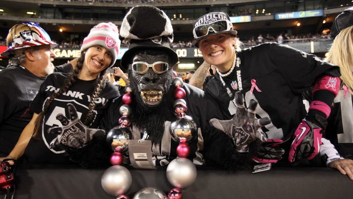 Raiders fans at a game in Oakland.
