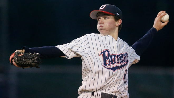 Oakland's Luke Vinson fires a pitch in a recent game. Vinson is a nominee for area boys athlete of the week.