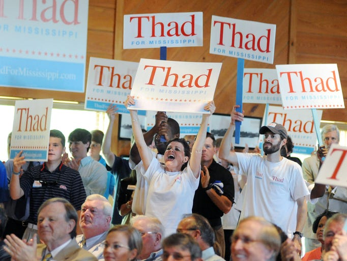 Supporters of U.S. Sen. Thad Cochran, R-Mississippi, cheer during a pre-election day rally at the Mississippi Agriculture and Forestry Museum in Jackson on Monday.  Sen. Cochran's contentious race against state Sen. Chris McDaniel, R-Ellisville, will be decided Tuesday as voters will head to the polls to cast their ballots in the state's Republican primary.