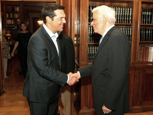 Greek Prime Minister Alexis Tsipras meets President Prokopis Pavlopoulos to submit his resignation
