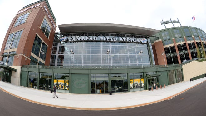 The new north face of Lambeau Field with the new Packers Pro Shop entrance, left, the Miller Gate, top, and the stadium bowl, right, on July 22.