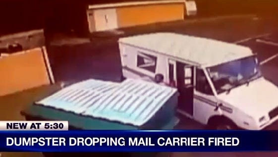 Surveillance video catches this U.S. mail carrier allegedly throwing mail into a Lee County dumpster, NBC2 reports.