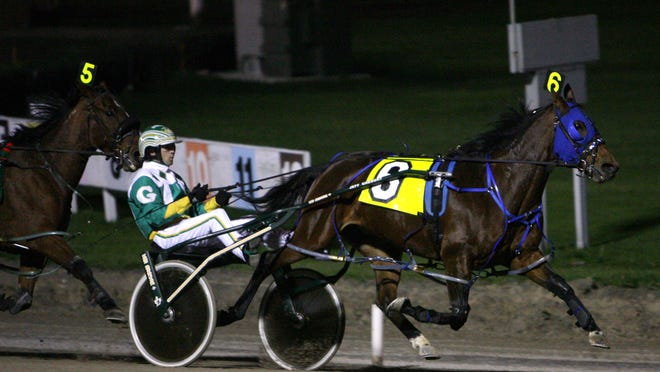 A horse races at Yonkers Raceway in Yonkers on Nov. 17, 2006.