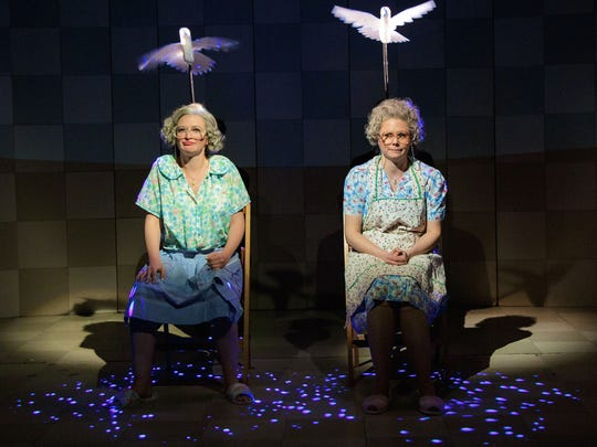 """Kelly Hutchinson (left) and Liv Rooth star in """"Lives of the Saints,"""" the title play in a collection of six one-act plays by David Ives now showing at Primary Stages at The Duke on 42nd Street."""