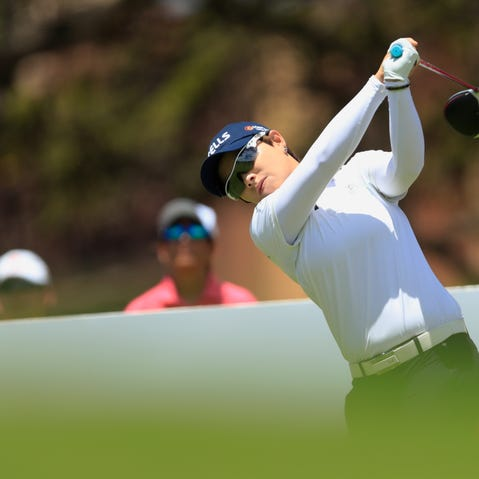 Brooke Henderson tees off on first hole during the third round of the LPGA Tour's Lotte Championship golf tournament Friday, April 19, 2019, in Kapolei, Hawaii. (Craig T. Kojima/Honolulu Star-Advertiser via AP)