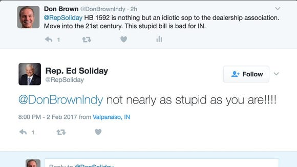 Screenshot of a Twitter exchange between Rep. Ed Soliday and CEO Don Brown.