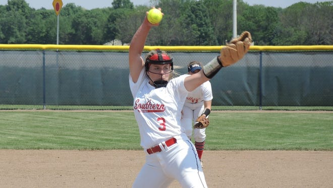 Jennifer Leonhardt pitches Thursday during the first game of the Midwest Super Regional. She's now the program's single-season strikeout leader.