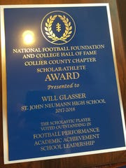 Each finalist for the National Football Foundation scholarship received a plaque at a banquet Monday at The Restaurant at Quail Village Golf Club.