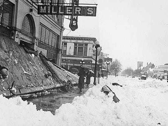 The marquee in front of Miller's Department Store, which was in the Reed Opera House, is seen after it was damaged by heavy snow on Jan. 31, 1937. Salem Public Library Historic Collections