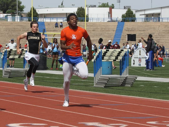 Central High School's Otto Haynes runs the final leg of the 4x100-meter relay Friday in preliminaries action in the San Angelo Relays at San Angelo Stadium. He was third in the 200 meters in the finals on Saturday.