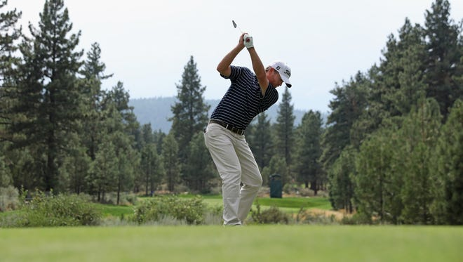 Derek Fathauer plays his shot from the third tee  during the third round of the Barracuda Championship at Montreux Country Club on Aug. 5.
