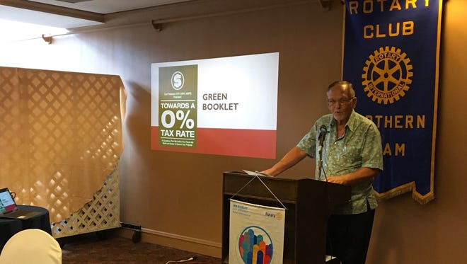 Carl Peterson talks about the effects of tax increases at the Hilton Resort on Wednesday April 11, 2018.